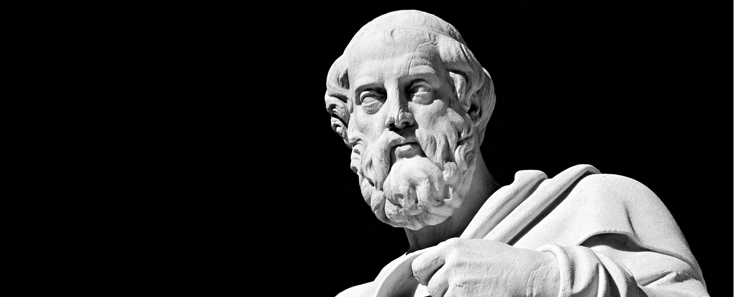 Marble statue of the ancient greek philosopher Plato
