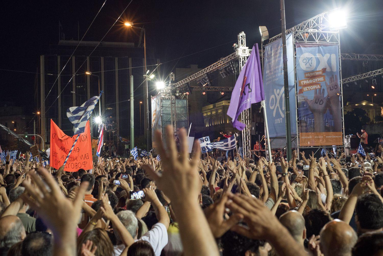 Η συγκέντρωση του ΟΧΙ πρίν το Δημοψήφισμα της 5ης Ιουλίου 2015